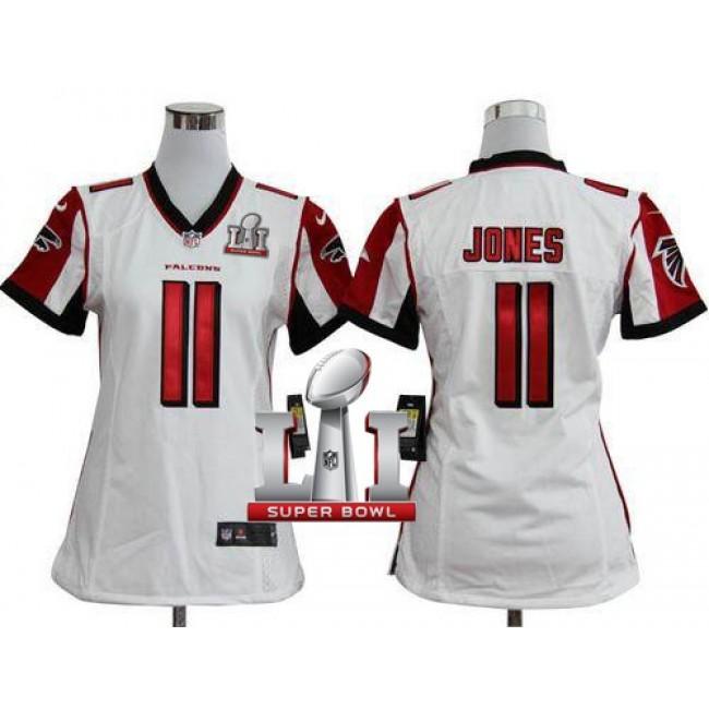 Women's Falcons #11 Julio Jones White Super Bowl LI 51 Stitched NFL Elite Jersey
