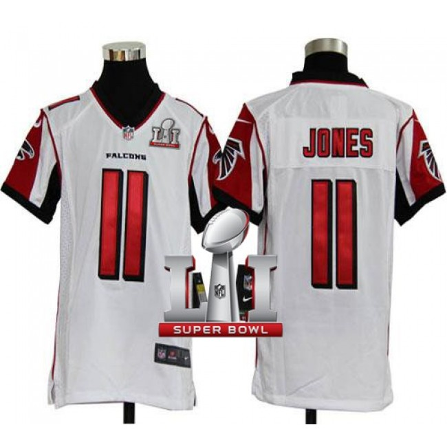 Atlanta Falcons #11 Julio Jones White Super Bowl LI 51 Youth Stitched NFL Elite Jersey