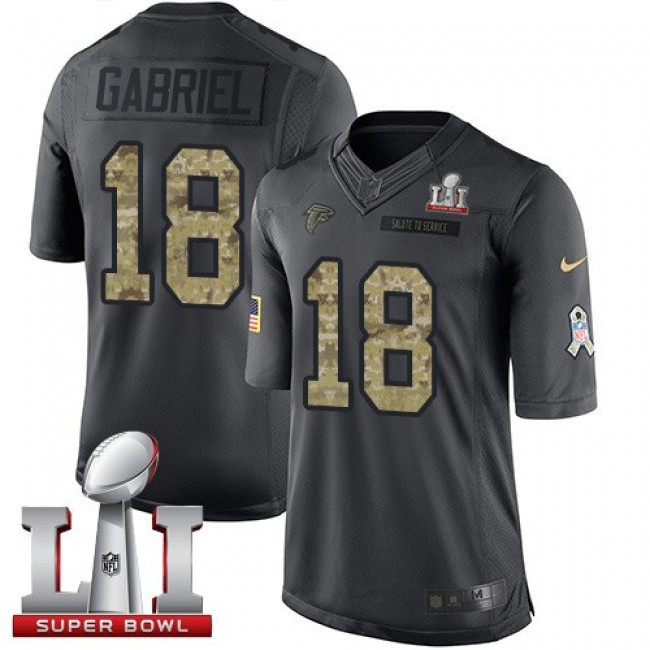 Atlanta Falcons #18 Taylor Gabriel Black Super Bowl LI 51 Youth Stitched NFL Limited 2016 Salute to Service Jersey