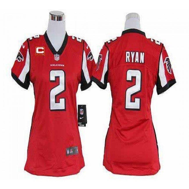 Women's Falcons #2 Matt Ryan Red Team Color With C Patch Stitched NFL Elite Jersey