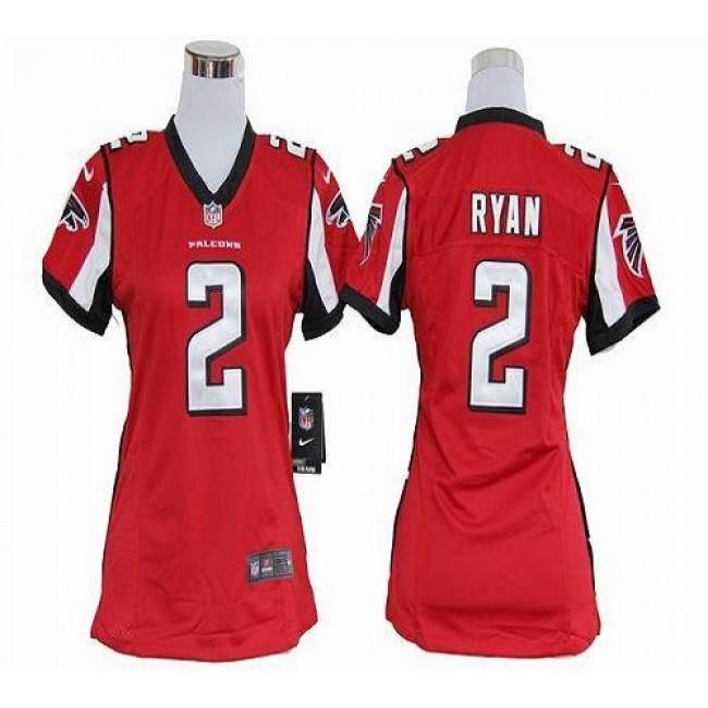 Women's Falcons #2 Matt Ryan Red Team Color Stitched NFL Elite Jersey