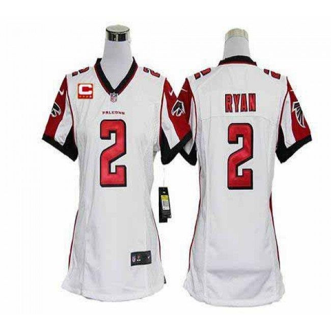 Women's Falcons #2 Matt Ryan White With C Patch Stitched NFL Elite Jersey