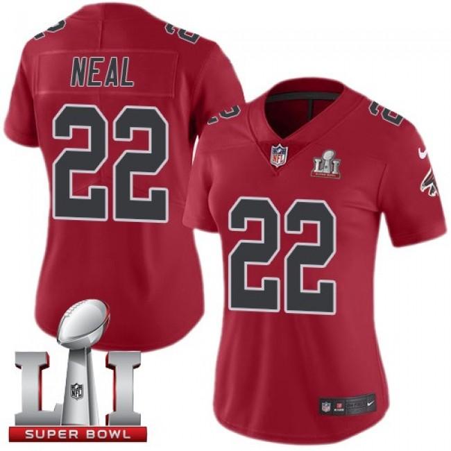 Women's Falcons #22 Keanu Neal Red Super Bowl LI 51 Stitched NFL Limited Rush Jersey