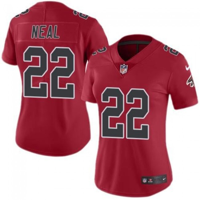 Women's Falcons #22 Keanu Neal Red Stitched NFL Limited Rush Jersey
