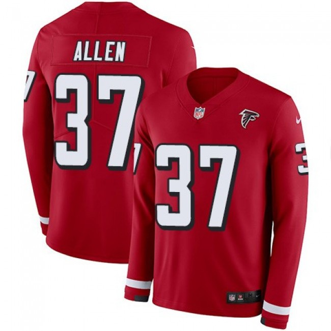 Nike Falcons #37 Ricardo Allen Red Team Color Men's Stitched NFL Limited Therma Long Sleeve Jersey