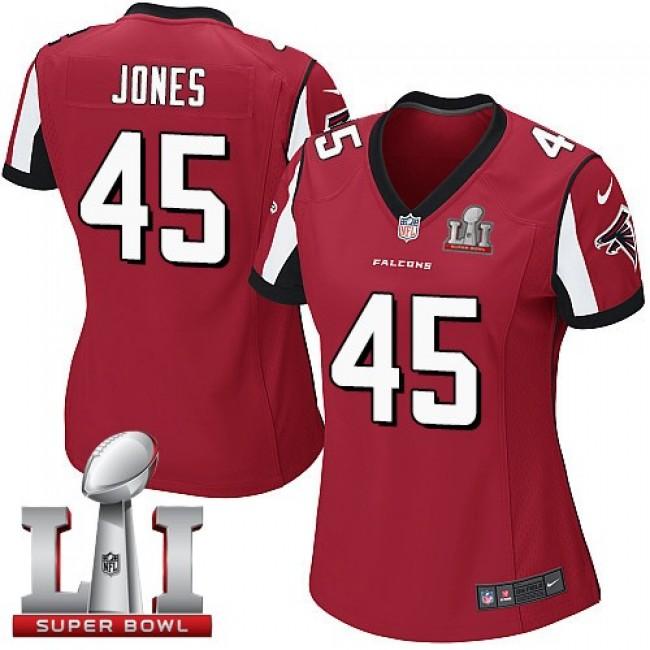 Women's Falcons #45 Deion Jones Red Team Color Super Bowl LI 51 Stitched NFL Elite Jersey