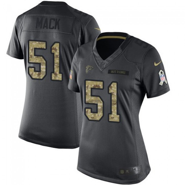 Women's Falcons #51 Alex Mack Black Stitched NFL Limited 2016 Salute to Service Jersey
