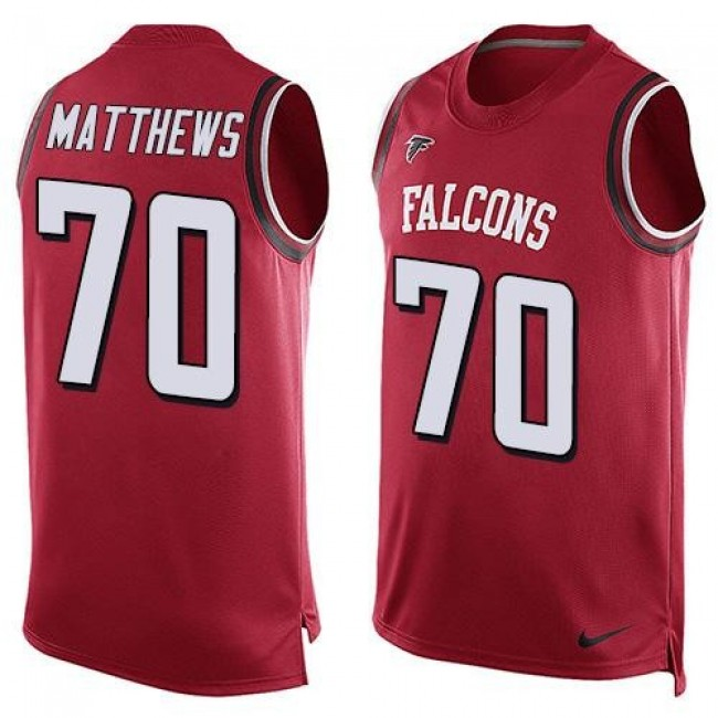 Nike Falcons #70 Jake Matthews Red Team Color Men's Stitched NFL Limited Tank Top Jersey
