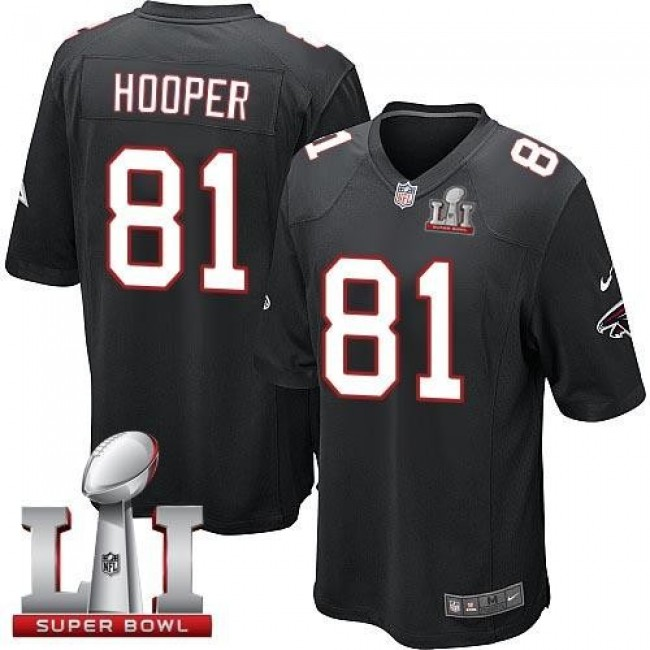 Atlanta Falcons #81 Austin Hooper Black Alternate Super Bowl LI 51 Youth Stitched NFL Elite Jersey