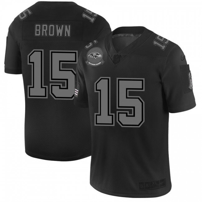Baltimore Ravens #15 Marquise Brown Men's Nike Black 2019 Salute to Service Limited Stitched NFL Jersey