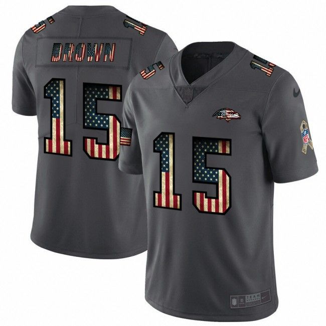 Baltimore Ravens #15 Marquise Brown Nike 2018 Salute to Service Retro USA Flag Limited NFL Jersey