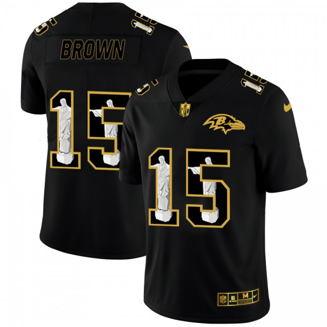 Baltimore Ravens #15 Marquise Brown Nike Carbon Black Vapor Cristo Redentor Limited NFL Jersey