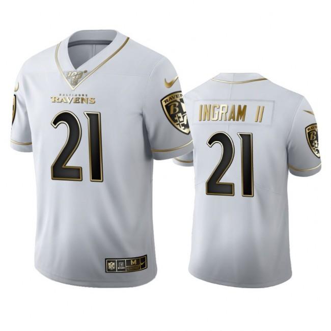 Baltimore Ravens #21 Mark Ingram II Men's Nike White Golden Edition Vapor Limited NFL 100 Jersey