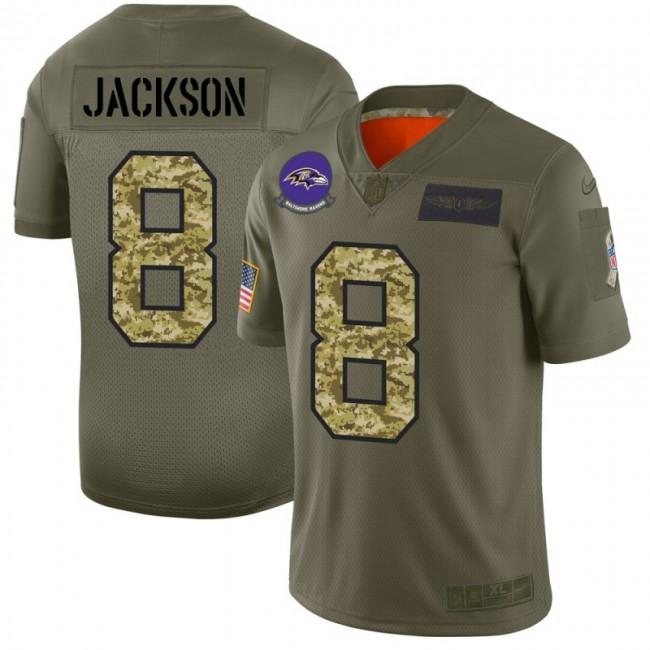Baltimore Ravens #8 Lamar Jackson Men's Nike 2019 Olive Camo Salute To Service Limited NFL Jersey