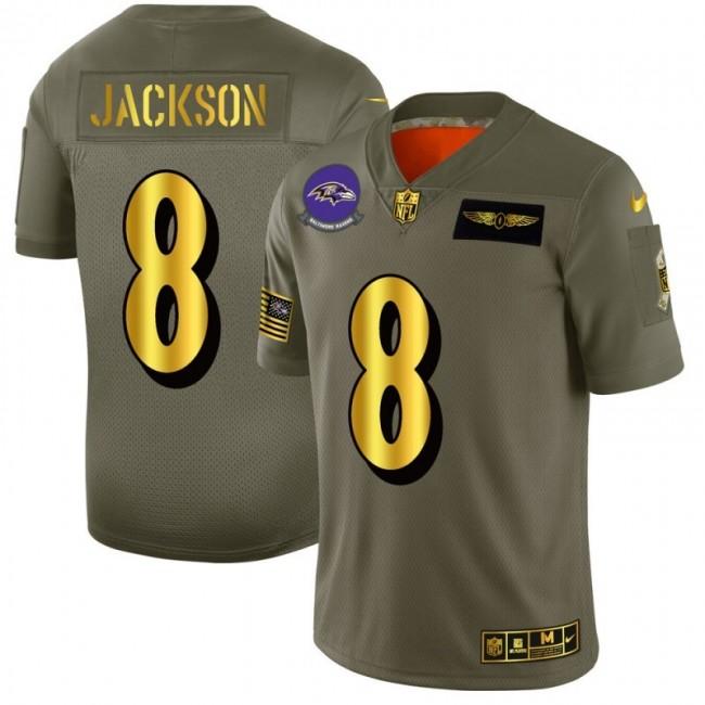 Baltimore Ravens #8 Lamar Jackson NFL Men's Nike Olive Gold 2019 Salute to Service Limited Jersey