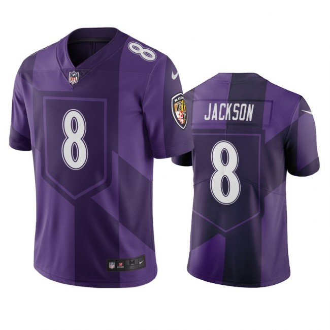 Baltimore Ravens #8 Lamar Jackson Purple Vapor Limited City Edition NFL Jersey