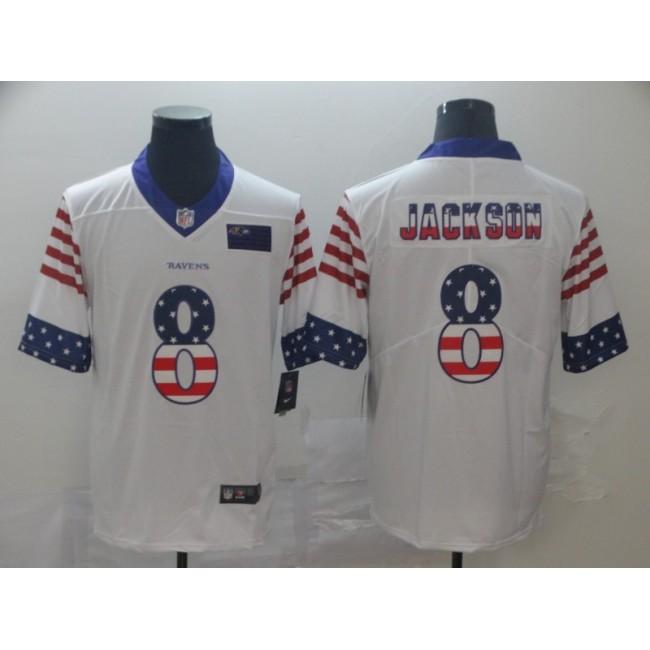 Baltimore Ravens #8 Lamar Jackson White Men's Nike Team Logo USA Flag Vapor Untouchable Limited NFL Jersey