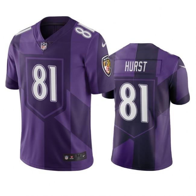 Baltimore Ravens #81 Hayden Hurst Purple Vapor Limited City Edition NFL Jersey
