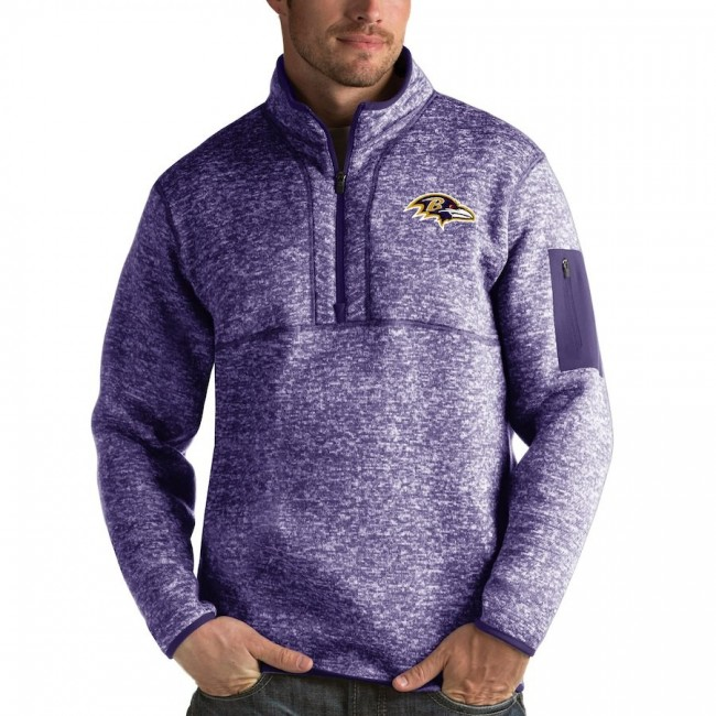 Baltimore Ravens Antigua Fortune Quarter-Zip Pullover Jacket Heather Purple