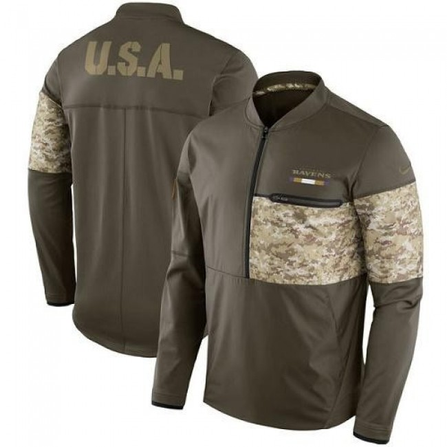 Men's Baltimore Ravens Nike Olive Salute to Service Sideline Hybrid Half-Zip Pullover Jacket