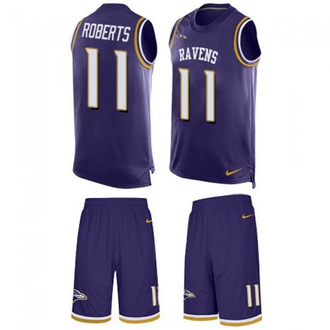 Nike Ravens #11 Seth Roberts Purple Team Color Men's Stitched NFL Limited Tank Top Suit Jersey