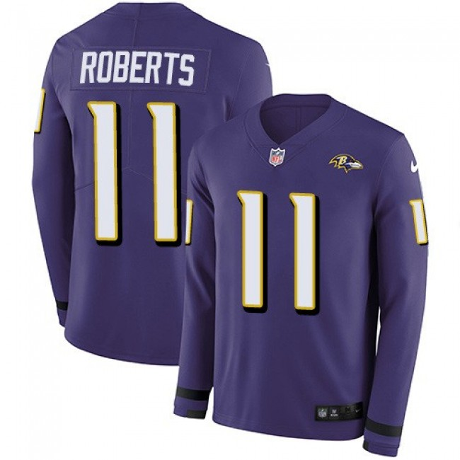 Nike Ravens #11 Seth Roberts Purple Team Color Men's Stitched NFL Limited Therma Long Sleeve Jersey