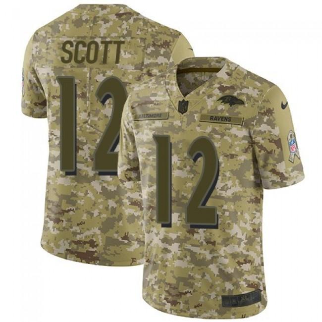 Nike Ravens #12 Jaleel Scott Camo Men's Stitched NFL Limited 2018 Salute To Service Jersey