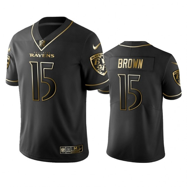 Nike Ravens #15 Marquise Brown Black Golden Limited Edition Stitched NFL Jersey