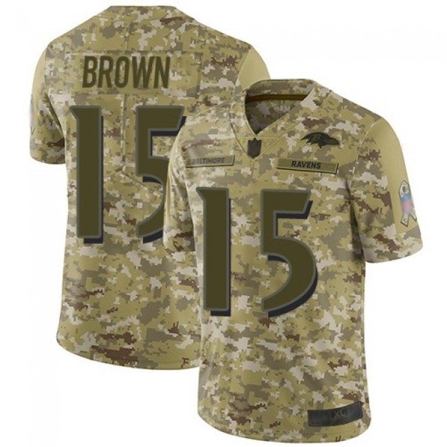 Nike Ravens #15 Marquise Brown Camo Men's Stitched NFL Limited 2018 Salute To Service Jersey