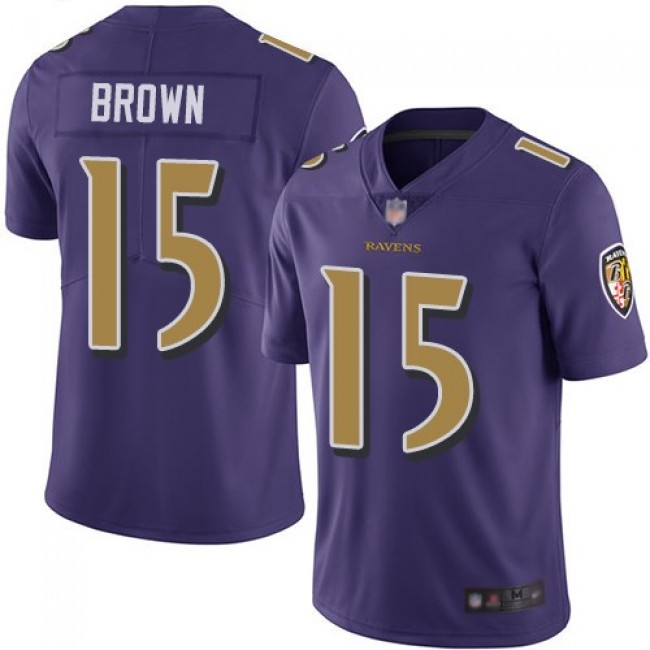 Nike Ravens #15 Marquise Brown Purple Men's Stitched NFL Limited Rush Jersey