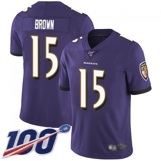 Nike Ravens #15 Marquise Brown Purple Team Color Men's Stitched NFL 100th Season Vapor Limited Jersey