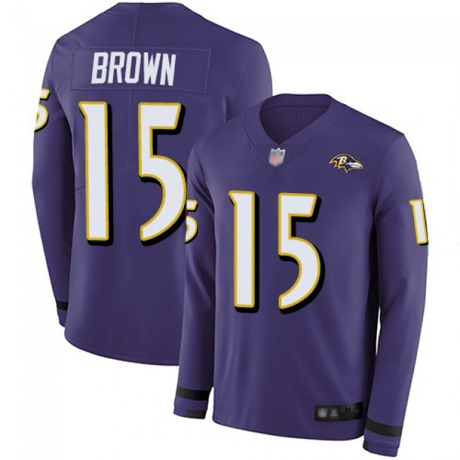 Nike Ravens #15 Marquise Brown Purple Team Color Men's Stitched NFL Limited Therma Long Sleeve Jersey