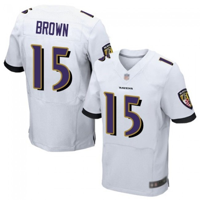 Nike Ravens #15 Marquise Brown White Men's Stitched NFL New Elite Jersey