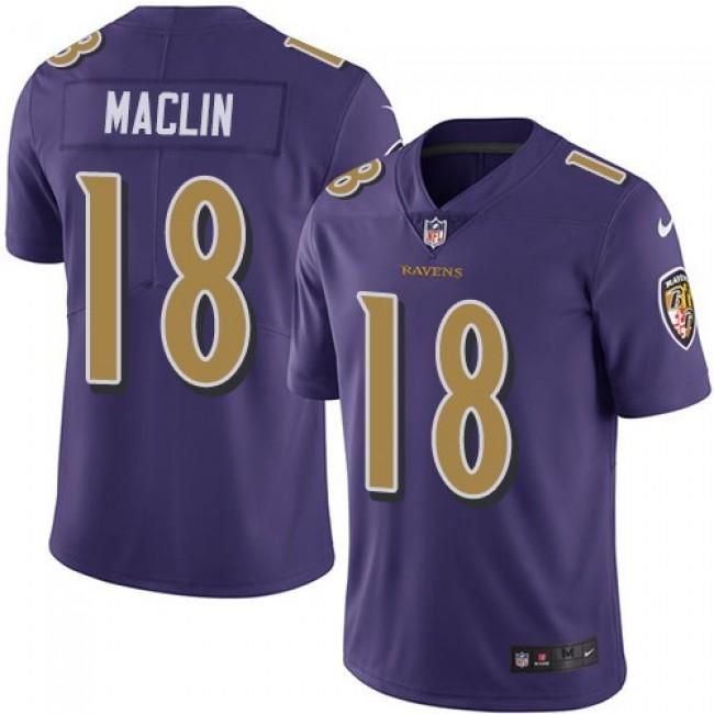 Baltimore Ravens #18 Jeremy Maclin Purple Youth Stitched NFL Limited Rush Jersey