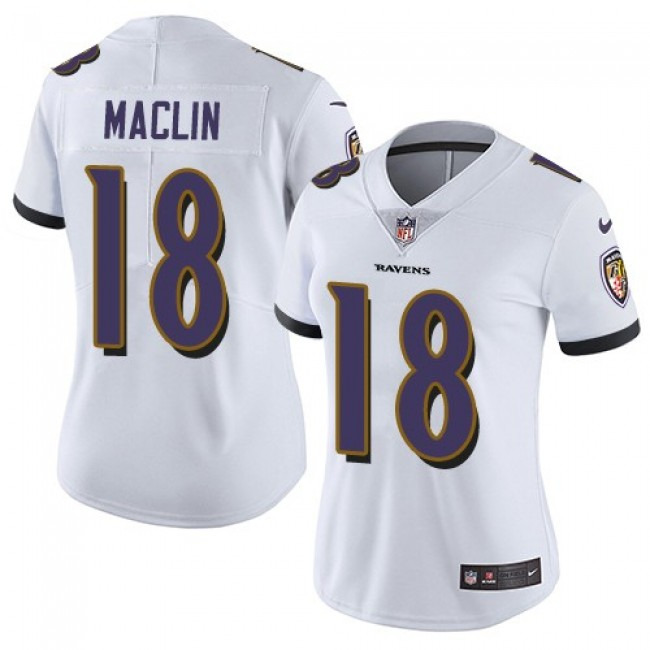 Women's Ravens #18 Jeremy Maclin White Stitched NFL Vapor Untouchable Limited Jersey