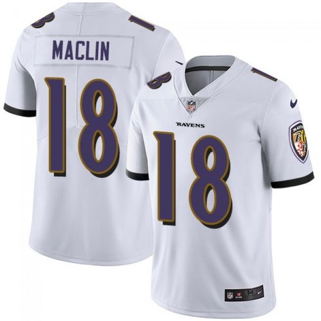 Baltimore Ravens #18 Jeremy Maclin White Youth Stitched NFL Vapor Untouchable Limited Jersey