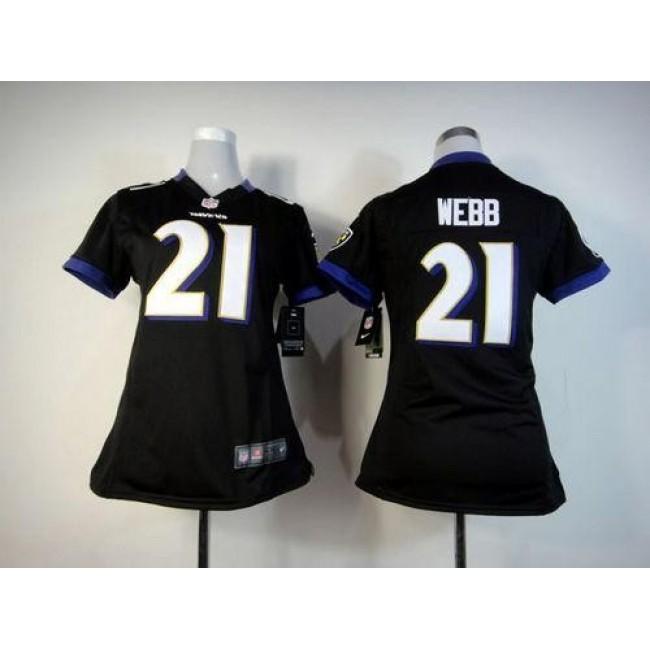 Women's Ravens #21 Lardarius Webb Black Alternate Stitched NFL Elite Jersey