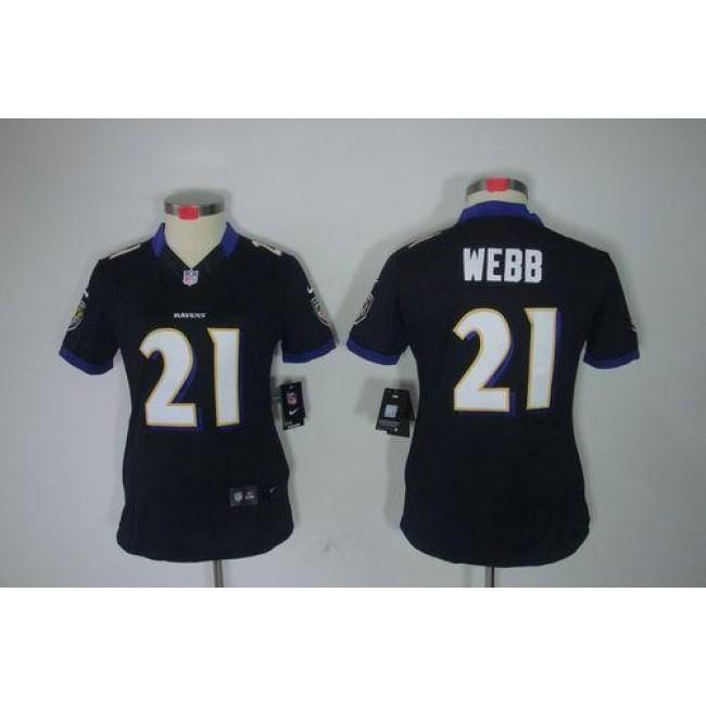 Women's Ravens #21 Lardarius Webb Black Alternate Stitched NFL Limited Jersey