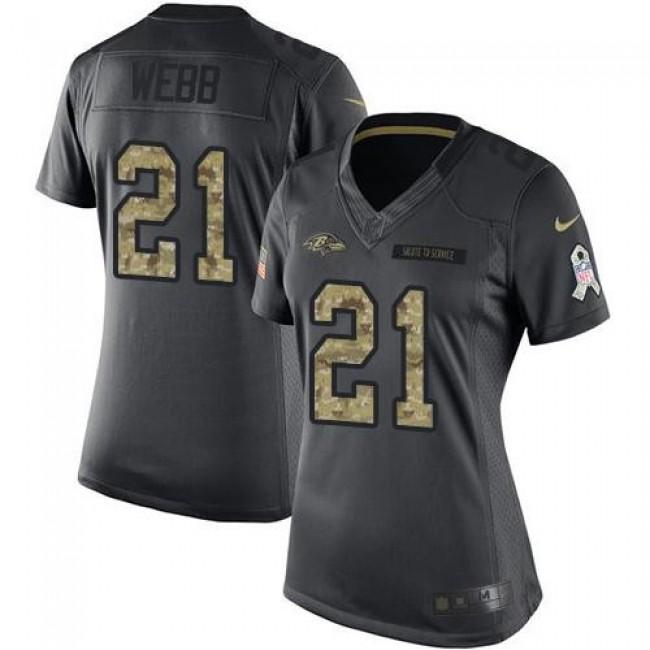 Women's Ravens #21 Lardarius Webb Black Stitched NFL Limited 2016 Salute to Service Jersey