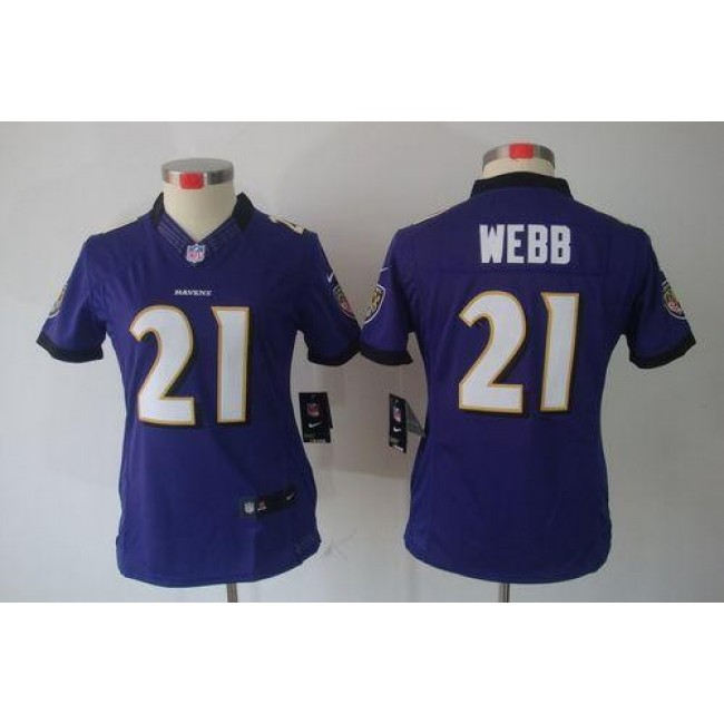 Women's Ravens #21 Lardarius Webb Purple Team Color Stitched NFL Limited Jersey