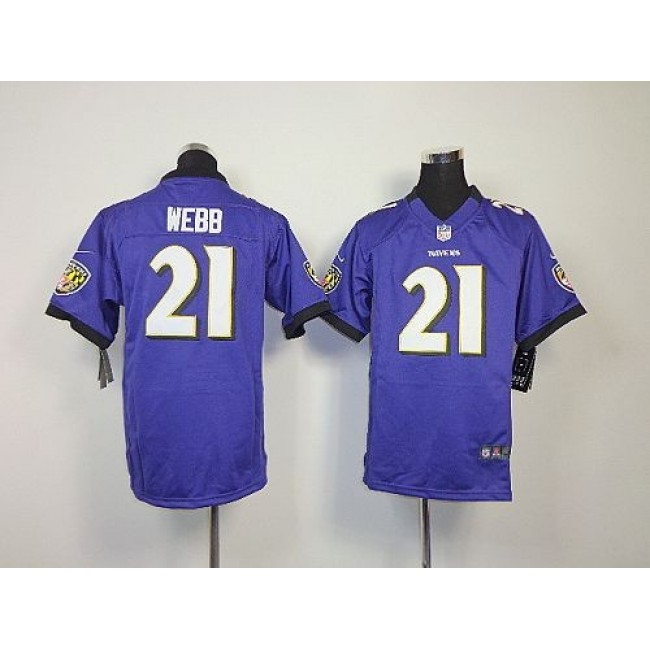 Baltimore Ravens #21 Lardarius Webb Purple Team Color Youth Stitched NFL Elite Jersey