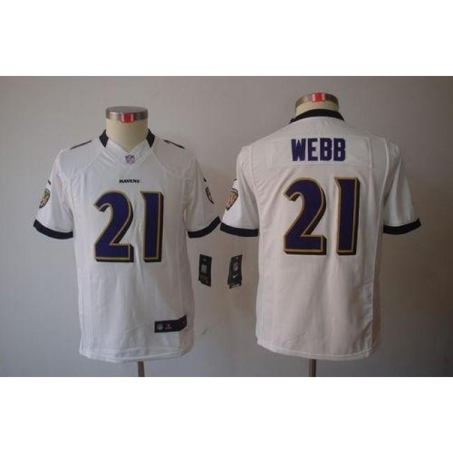 Baltimore Ravens #21 Lardarius Webb White Youth Stitched NFL Limited Jersey