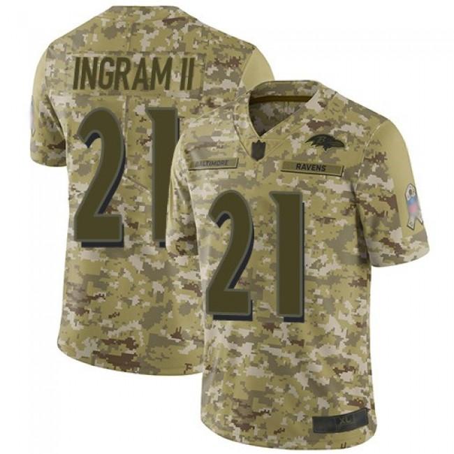 Nike Ravens #21 Mark Ingram II Camo Men's Stitched NFL Limited 2018 Salute To Service Jersey