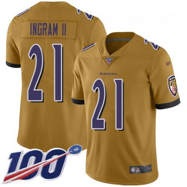 Nike Ravens #21 Mark Ingram II Gold Men's Stitched NFL Limited Inverted Legend 100th Season Jersey
