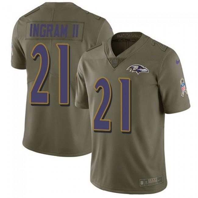 Nike Ravens #21 Mark Ingram II Olive Men's Stitched NFL Limited 2017 Salute To Service Jersey