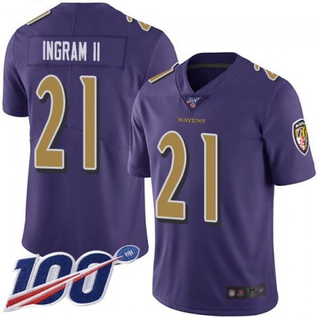 Nike Ravens #21 Mark Ingram II Purple Men's Stitched NFL Limited Rush 100th Season Jersey