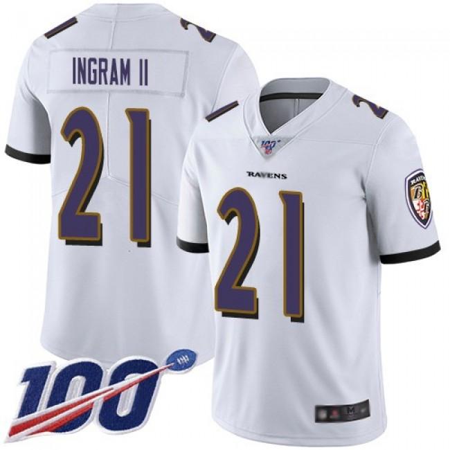 Nike Ravens #21 Mark Ingram II White Men's Stitched NFL 100th Season Vapor Limited Jersey