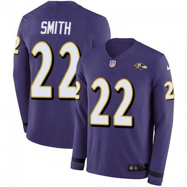 Nike Ravens #22 Jimmy Smith Purple Team Color Men's Stitched NFL Limited Therma Long Sleeve Jersey