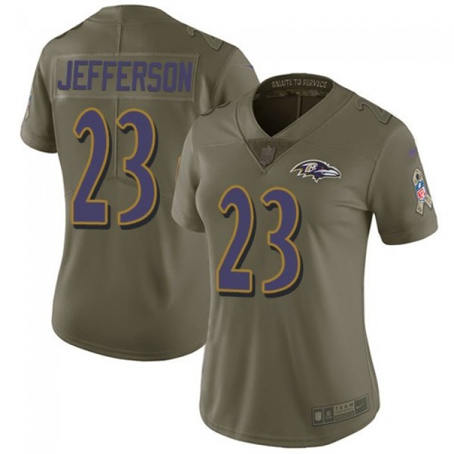 Women's Ravens #23 Tony Jefferson Olive Stitched NFL Limited 2017 Salute to Service Jersey