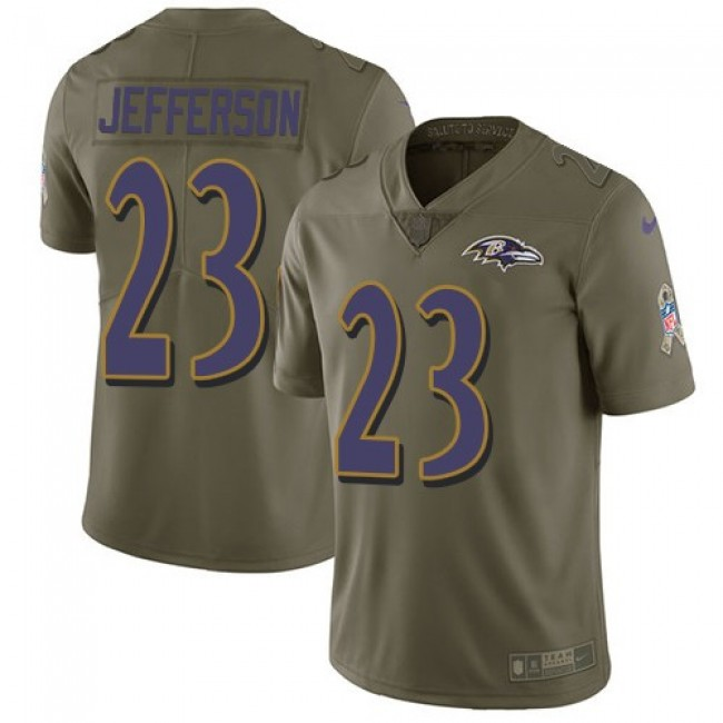 Baltimore Ravens #23 Tony Jefferson Olive Youth Stitched NFL Limited 2017 Salute to Service Jersey